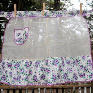 VTG White Illusion Purple Floral Hostess 1/2 Apron